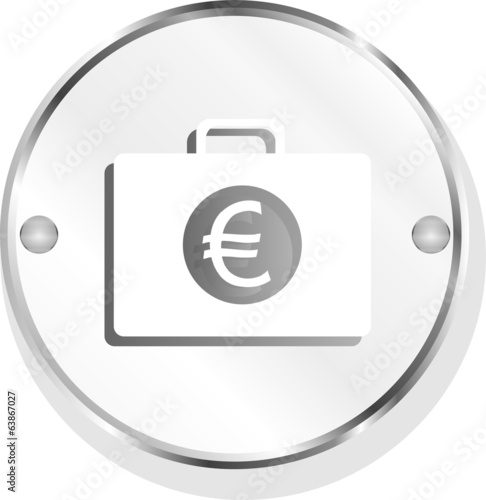 euro case button, financial icon isolated on white background