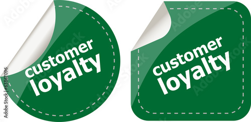 customer loyalty stickers set on white, icon button isolated