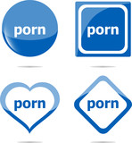 porn stickers set isolated on white, icon button poster