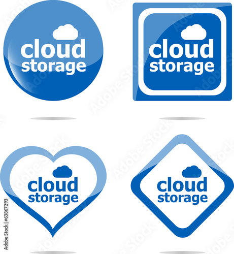 cloud computing icon stickers set isolated on white