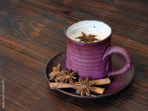 Traditional chai tea with milk