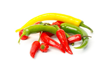 Group of colored hot peppers