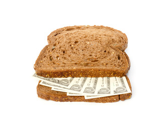 Two slices of bread with dollar banknotes sandwich filling