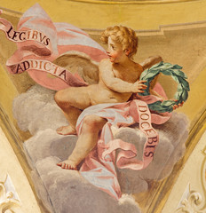 Bologna - Fresco of angel in side cupola of  Saint Peters