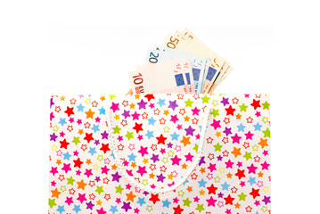Gift bag with euro banknotes