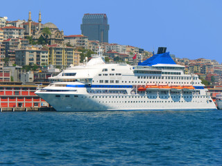 White cruise liner at port in Istanbul, Turkey
