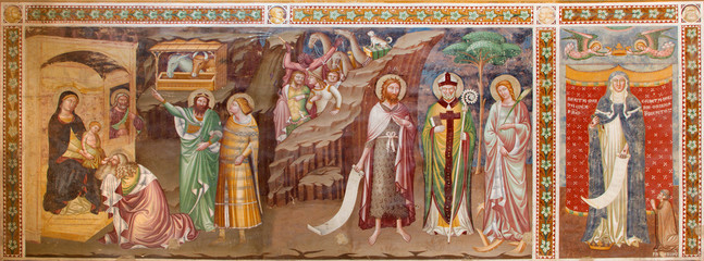 Treviso - Fresco of Adoration of Magi  in saint Nicholas church