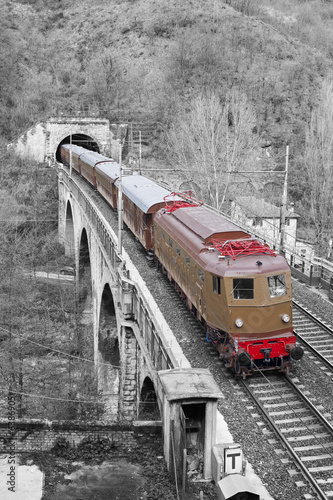 Electric locomotive on black and white background