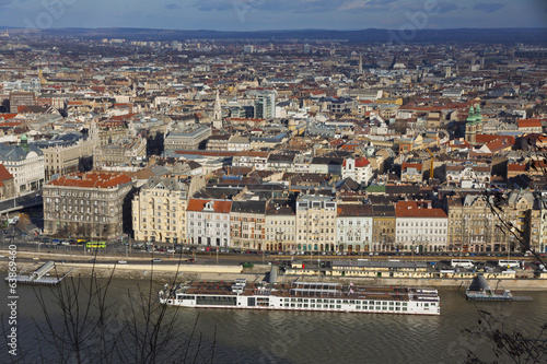 Aerial view of Danube river and Budapest city
