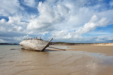 Wreck of a boat in Bunbeg, Donegal