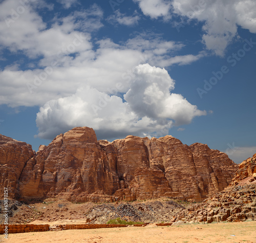 Mountains of Wadi Rum Desert in southern Jordan