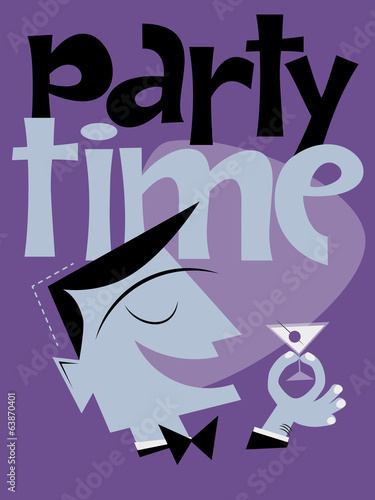 party poster cocktail retro vintage