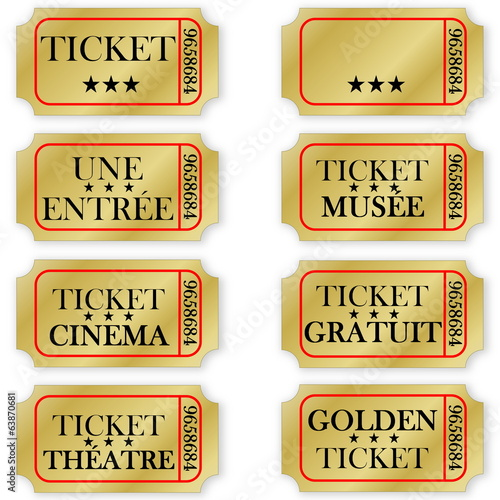 Set of french golden tickets