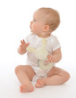 Infant child baby toddler sitting smiling with soft bunny toy