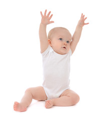 Infant child baby toddler sitting hands up