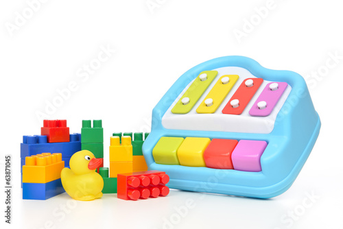 Child baby toys collage lego duck toy xylophone
