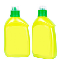 Yellow plastic bottles for liquid soap