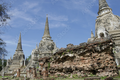 Ancient pagoda at Wat Phra Si Sanphet in Ayutthaya, Thailand