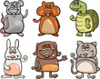 cute pets set cartoon illustration