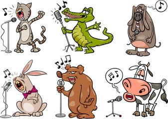 singing animals set cartoon illustration