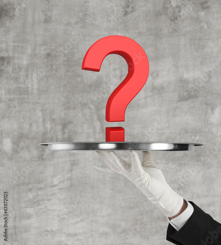 plate with red  question mark