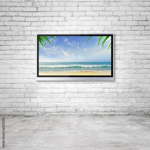 TV with tropical ocean
