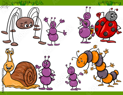 happy insects set cartoon illustration