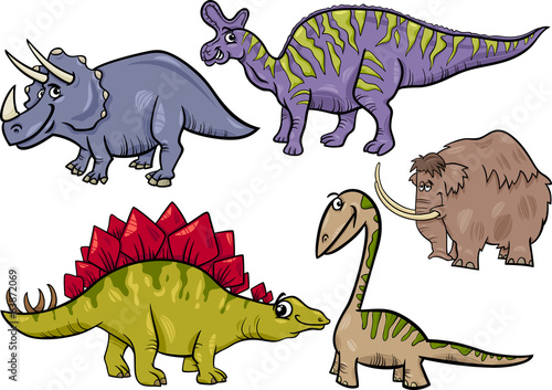 prehistoric set cartoon illustration