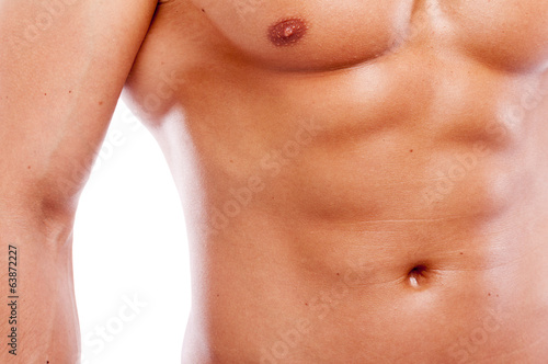 Close-up of guy muscular torso