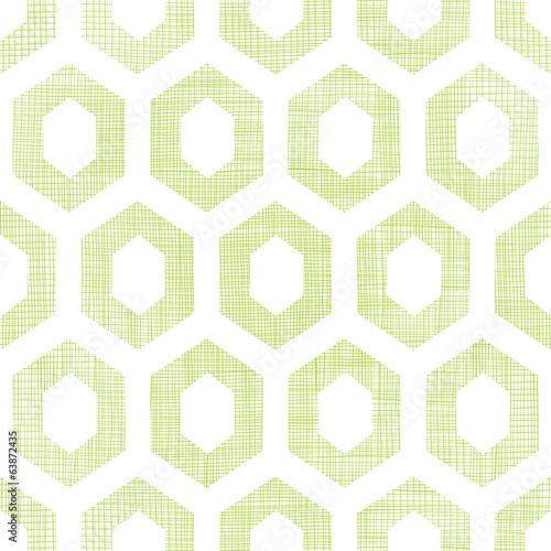 Abstract green fabric textured honeycomb cutout seamless pattern