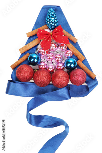 Christmas tree of Christmas toys isolated on white
