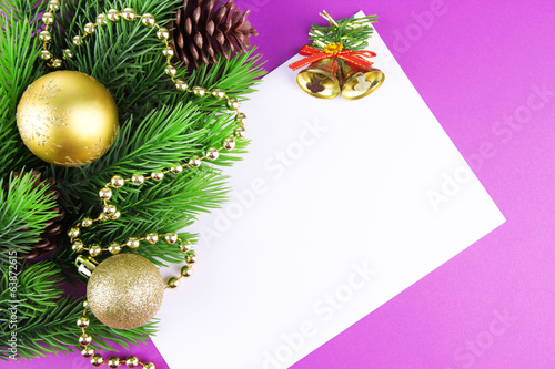 Christmas card on purple background