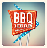 Retro Neon Sign BBQ lettering in the style of American roadside