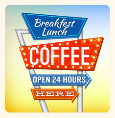 Retro Neon Sign Coffee and Breakfest lettering in the style of