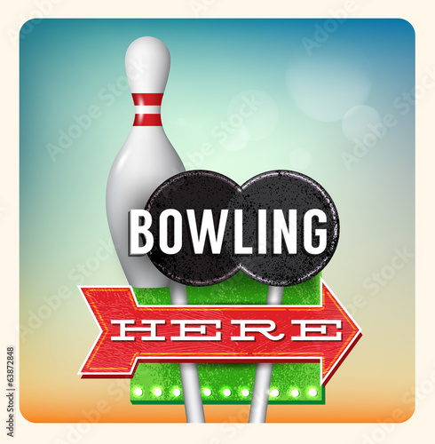 Retro Neon Sign Bowling lettering in the style of American