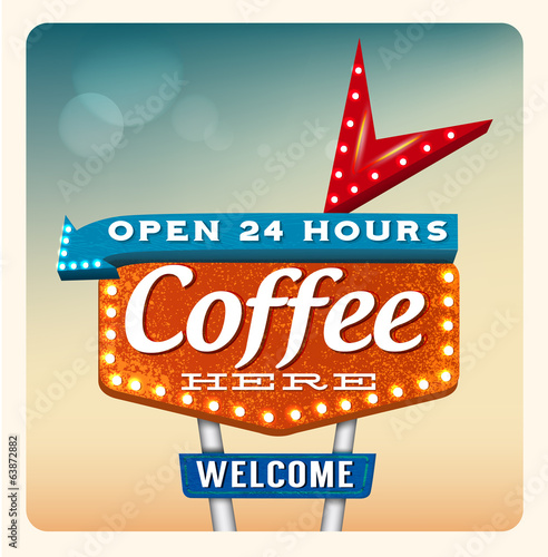 Retro Neon Sign Coffee lettering in the style of American