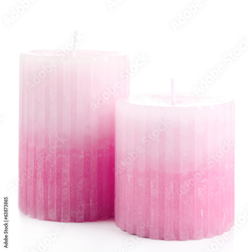 Beautiful candles, isolated on white
