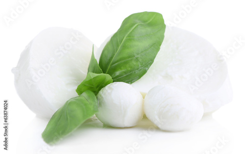 Tasty mozzarella with basil isolated on white