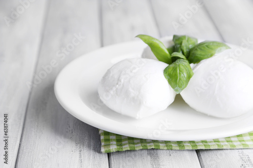 Tasty mozzarella cheese with basil