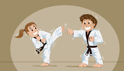 Kids practicing martial arts