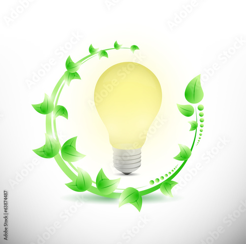leaves and light bulb illustration design