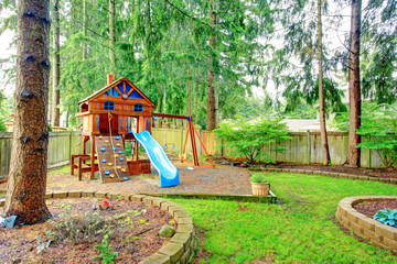 Playground for kids. Backyard view