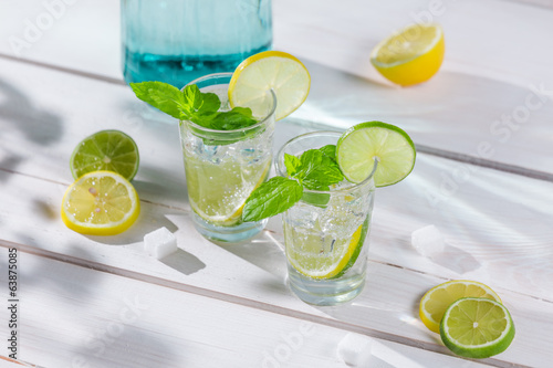 Closeup of lemon drink with ice and mint leaf