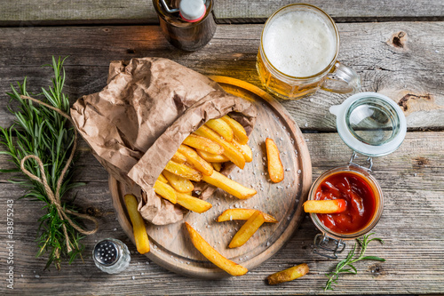 Homemade fries served with beer