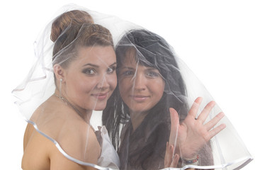 Girlfriends under veil
