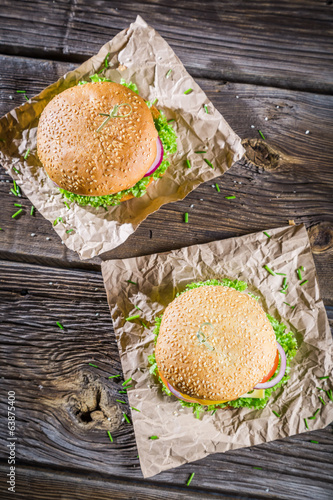 Closeup of two homemade burgers made ​​from fresh vegetables