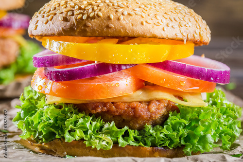 Closeup of burger made ​​from vegetables