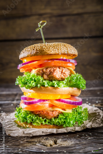 Double-decker homemade burger made ​​from fresh vegetables