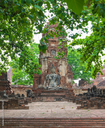 Buddha Statue with leaves foreground -  Ayutthaya, Thailand