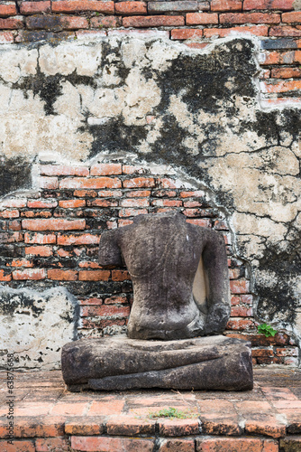 Ruins of ancient broken buddha at Ayuttaya, Thailand